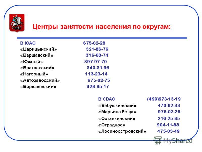 Центры занятости населения по округам : В ЮАО 675-82-28 « Царицынский » 321-86-76 « Варшавский » 316-68-74 « Южный » 397-97-70 « Братеевский » 340-31-96 « Нагорный » 113-23-14 « Автозаводский » 675-82-75 « Бирюлевский » 328-85-17 В СВАО (499)973-13-1