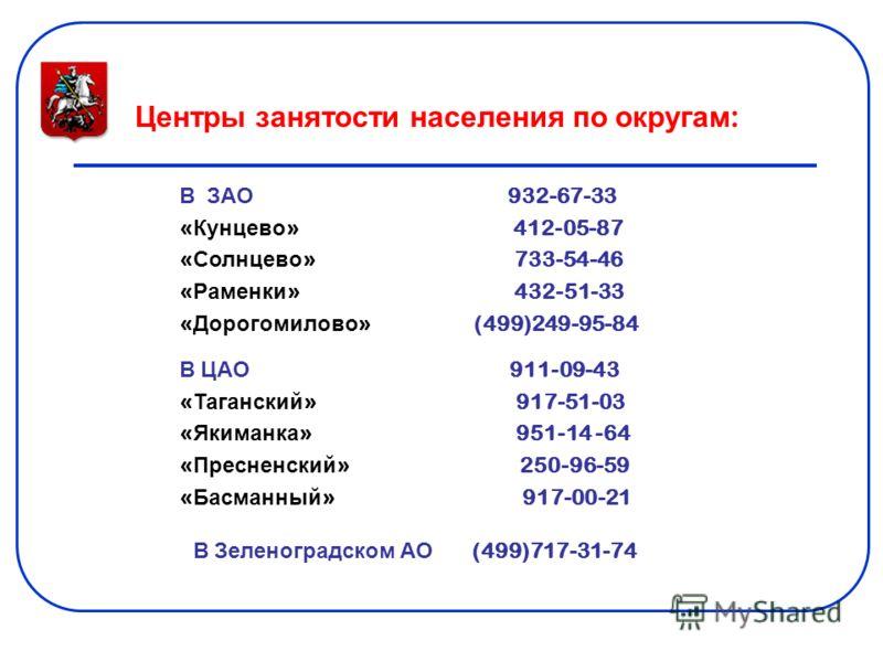Центры занятости населения по округам : В ЗАО 932-67-33 « Кунцево » 412-05-87 « Солнцево » 733-54-46 « Раменки » 432-51-33 « Дорогомилово » (499)249-95-84 В ЦАО 911-09-43 « Таганский » 917-51-03 « Якиманка » 951-14 -64 « Пресненский » 250-96-59 « Бас