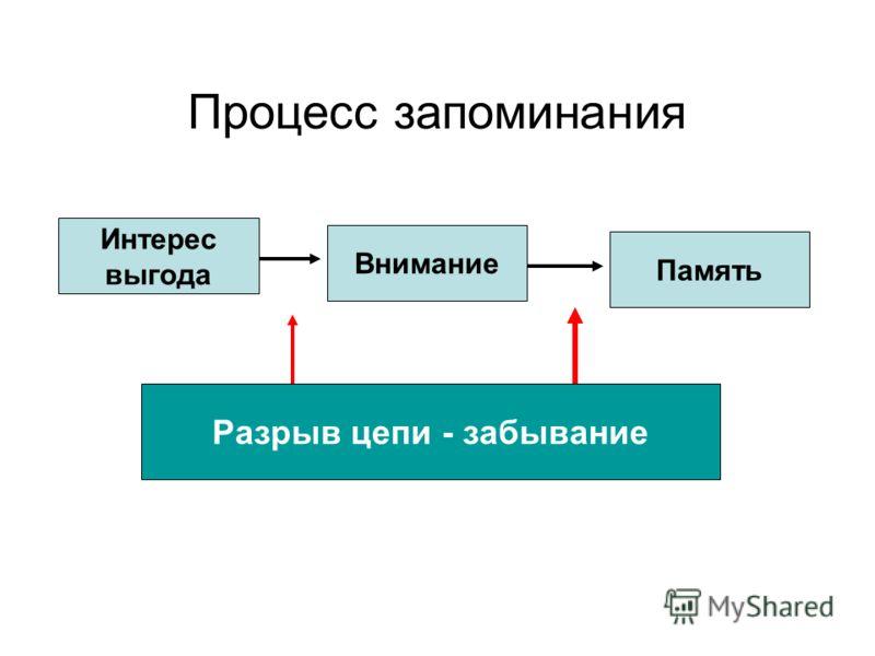 Процесс запоминания Интерес выгода Внимание Память