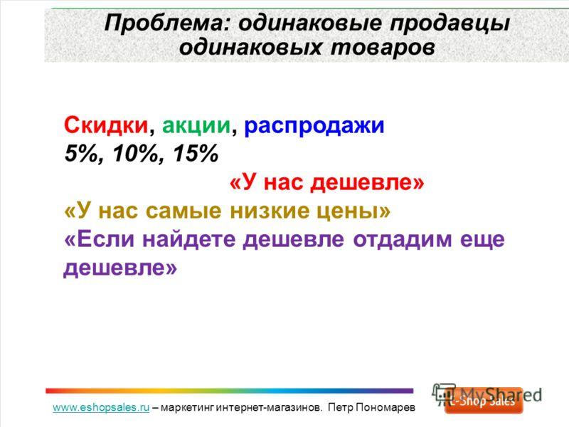 www.eshopsales.ruwww.eshopsales.ru – маркетинг интернет-магазинов. Петр Пономарев Проблема: одинаковые продавцы одинаковых товаров Скидки, акции, распродажи 5%, 10%, 15% «У нас дешевле» «У нас самые низкие цены» «Если найдете дешевле отдадим еще деше