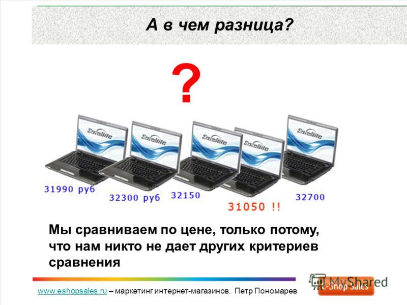 www.eshopsales.ruwww.eshopsales.ru – маркетинг интернет-магазинов. Петр Пономарев А в чем разница? ? Мы сравниваем по цене, только потому, что нам никто не дает других критериев сравнения