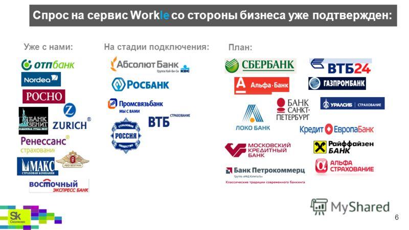 Уже с нами:На стадии подключения: План: Спрос на сервис Workle со стороны бизнеса уже подтвержден: 6