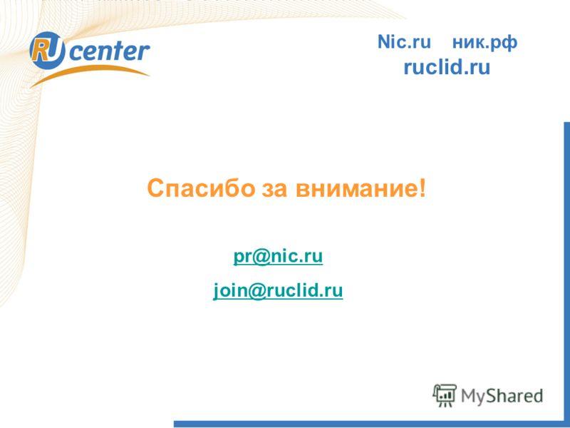 Спасибо за внимание! pr@nic.ru join@ruclid.ru Nic.ru ник.рф ruclid.ru