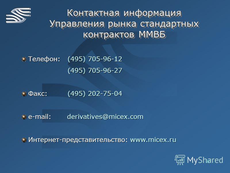 20 Контактная информация Управления рынка стандартных контрактов ММВБ Телефон:(495) 705-96-12 (495) 705-96-27 Факс: (495) 202-75-04 Факс: (495) 202-75-04 e-mail: derivatives@micex.com e-mail: derivatives@micex.com Интернет-представительство: www.mice