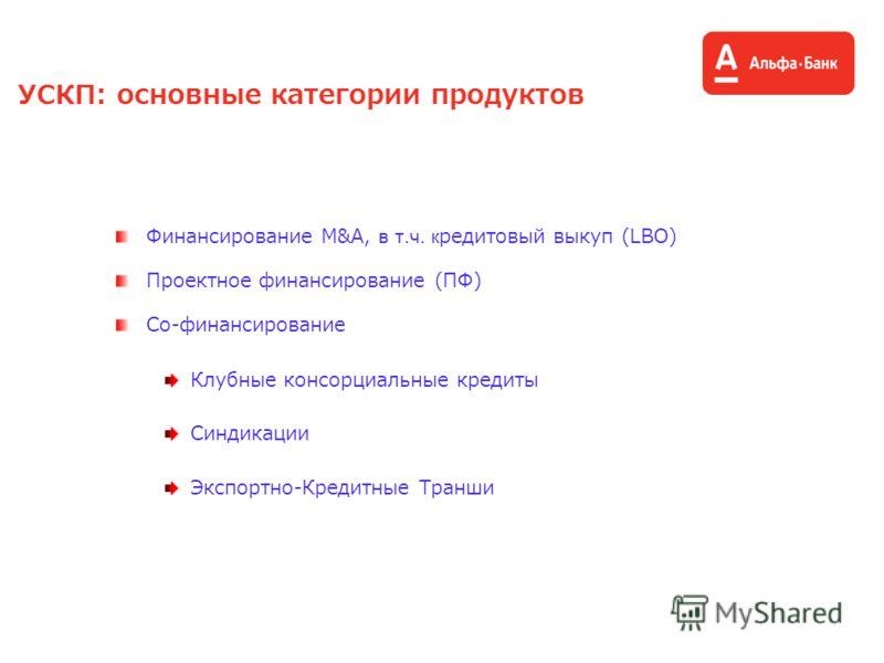 УСКП: основные категории продуктов Финансирование М&A, в т.ч. кредитовый выкуп (LBO) Проектное финансирование (ПФ) Со-финансирование Клубные консорциальные кредиты Синдикации Экспортно-Кредитные Транши