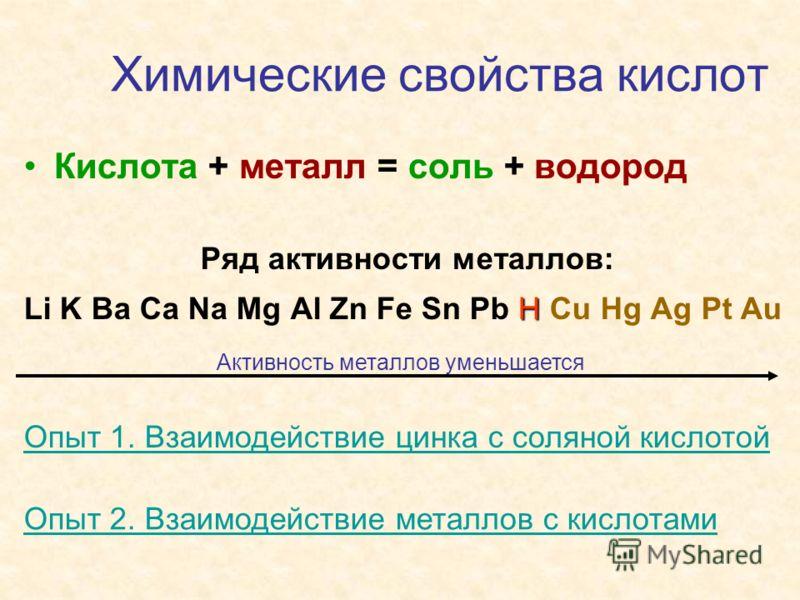 Химические свойства кислот Кислота + металл = соль + водород Ряд активности металлов: H Li K Ba Ca Na Mg Al Zn Fe Sn Pb H Cu Hg Ag Pt Au Активность металлов уменьшается Опыт 1. Взаимодействие цинка с соляной кислотой Опыт 2. Взаимодействие металлов с