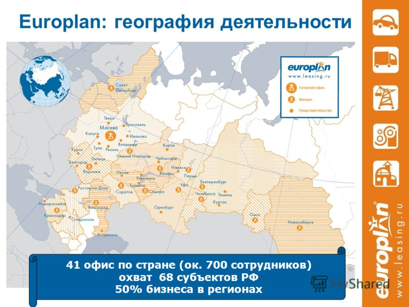 Europlan: география деятельности 41 офис по стране (ок. 700 сотрудников) охват 68 субъектов РФ 50% бизнеса в регионах