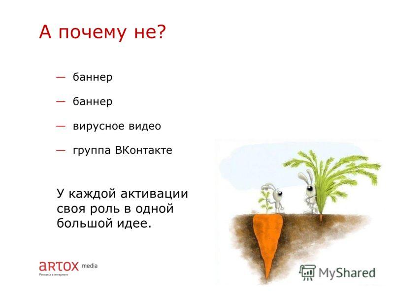 баннер вирусное видео группа ВКонтакте А почему не? У каждой активации своя роль в одной большой идее.