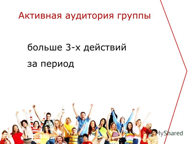 больше 3-х действий за период Активная аудитория группы