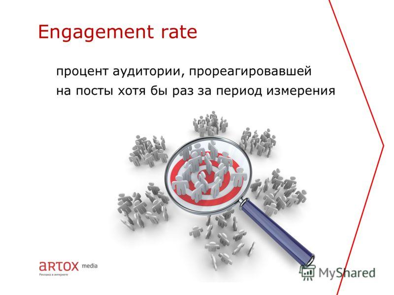 процент аудитории, прореагировавшей на посты хотя бы раз за период измерения Engagement rate