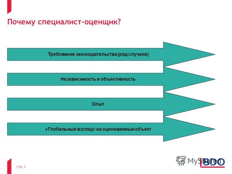 Почему специалист-оценщик? Стр. 3 Требование законодательства (ряд случаев) Независимость и объективность Опыт «Глобальный взгляд» на оцениваемый объект