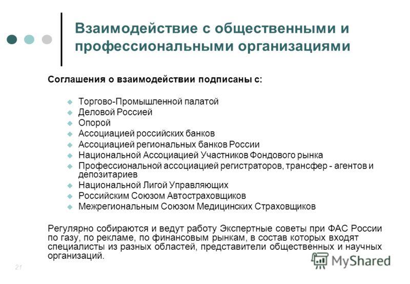 21 Взаимодействие с общественными и профессиональными организациями Соглашения о взаимодействии подписаны с: Торгово-Промышленной палатой Деловой Россией Опорой Ассоциацией российских банков Ассоциацией региональных банков России Национальной Ассоциа