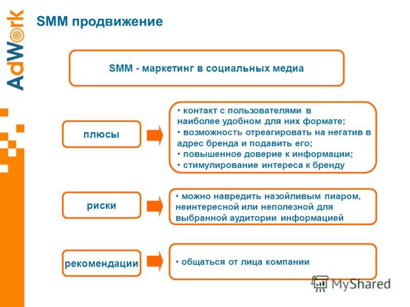 SMM - маркетинг в социальных медиа плюсы риски рекомендации контакт с пользователями в наиболее удобном для них формате; возможность отреагировать на негатив в адрес бренда и подавить его; повышенное доверие к информации; стимулирование интереса к бр