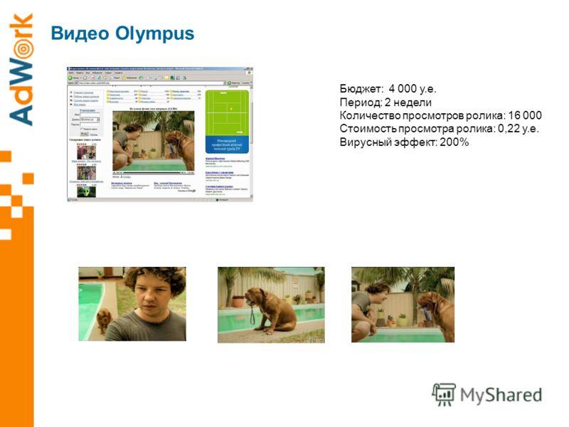 Видео Olympus Бюджет: 4 000 у.е. Период: 2 недели Количество просмотров ролика: 16 000 Стоимость просмотра ролика: 0,22 у.е. Вирусный эффект: 200%