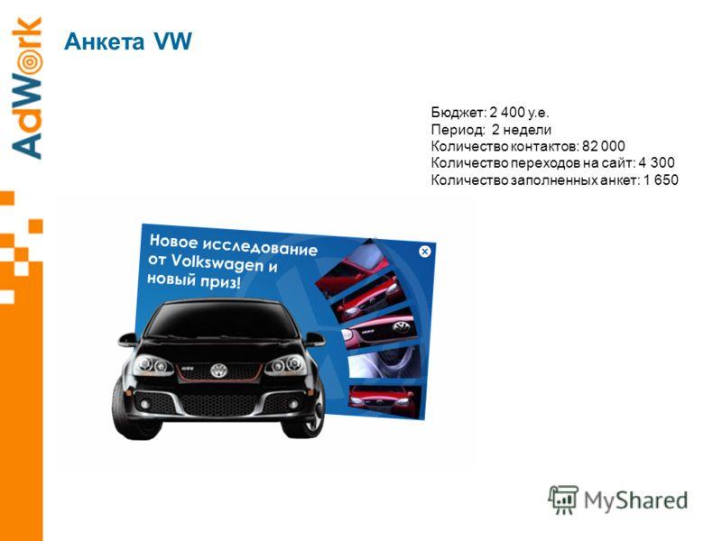 Aнкета VW Бюджет: 2 400 у.е. Период: 2 недели Количество контактов: 82 000 Количество переходов на сайт: 4 300 Количество заполненных анкет: 1 650