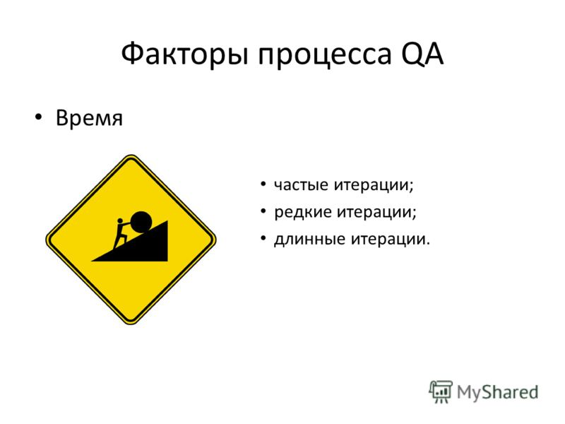 Факторы процесса QA Время частые итерации; редкие итерации; длинные итерации.