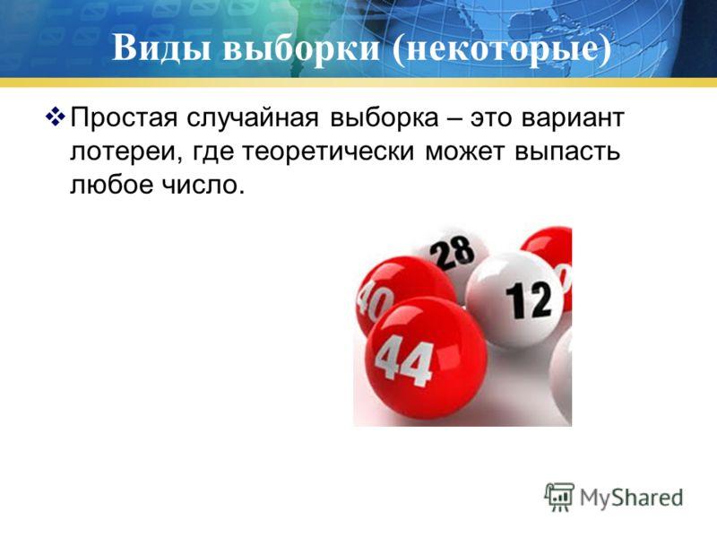 Виды выборки (некоторые) Простая случайная выборка – это вариант лотереи, где теоретически может выпасть любое число.
