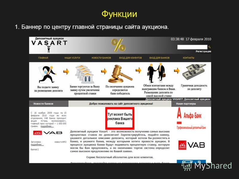 Функции 1. Баннер по центру главной страницы сайта аукциона.