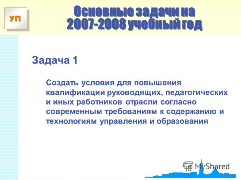 УП Задача 1 Создать условия для повышения квалификации руководящих, педагогических и иных работников отрасли согласно современным требованиям к содержанию и технологиям управления и образования Основные задачи на 2007-2008 учебный год