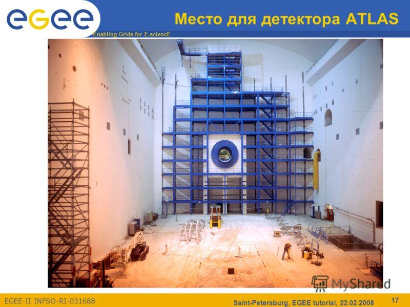 Enabling Grids for E-sciencE EGEE-II INFSO-RI-031688 Saint-Petersburg, EGEE tutorial, 22.02.2008 17 Место для детектора ATLAS