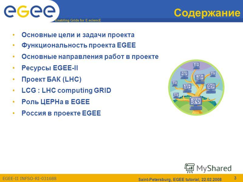 Enabling Grids for E-sciencE EGEE-II INFSO-RI-031688 Saint-Petersburg, EGEE tutorial, 22.02.2008 3 Содержание Основные цели и задачи проекта Функциональность проекта EGEE Основные направления работ в проекте Ресурсы EGEE-II Проект БАК (LHC) LCG : LHC