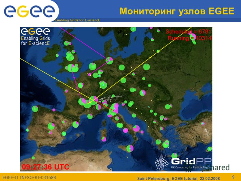 Enabling Grids for E-sciencE EGEE-II INFSO-RI-031688 Saint-Petersburg, EGEE tutorial, 22.02.2008 9 Мониторинг узлов EGEE