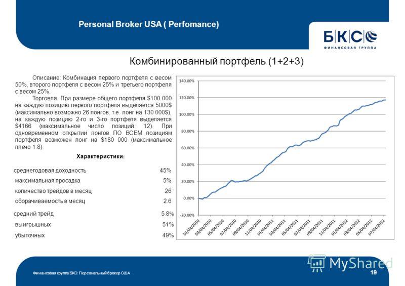 Personal Broker USA ( Perfomance) Финансовая группа БКС: Персональный брокер США 19 Комбинированный портфель (1+2+3) Описание: Комбинация первого портфеля с весом 50%, второго портфеля с весом 25% и третьего портфеля с весом 25%. Торговля. При размер