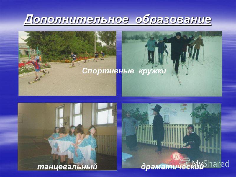 Дополнительное образование Спортивные кружки танцевальныйдраматический