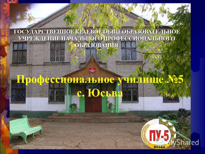 ГОСУДАРСТВЕННОЕ КРАЕВОЕ ОБЩЕОБРАЗОВАТЕЛЬНОЕ УЧРЕЖДЕНИЕ НАЧАЛЬНОГО ПРОФЕССИОНАЛЬНОГО ОБРАЗОВАНИЯ Профессиональное училище 5 с. Юсьва