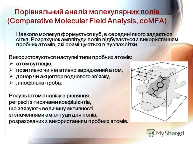 30 Порівняльний аналіз молекулярних полів (Comparative Molecular Field Analysis, coMFA) Навколо молекул формується куб, в середині якого задається сітка. Розрахунок амплітуди полів відбувається з використанням пробних атомів, які розміщуються в вузла