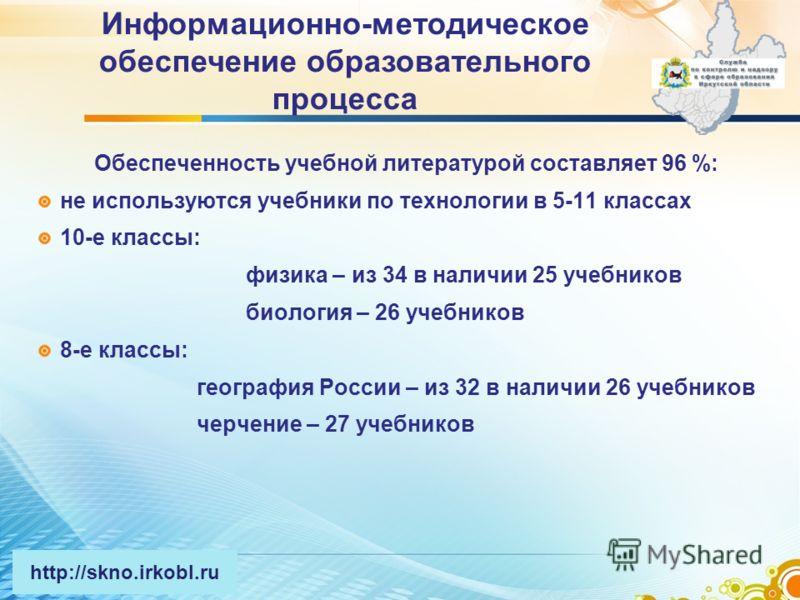 Обеспеченность учебной литературой составляет 96 %: не используются учебники по технологии в 5-11 классах 10-е классы: физика – из 34 в наличии 25 учебников биология – 26 учебников 8-е классы: география России – из 32 в наличии 26 учебников черчение