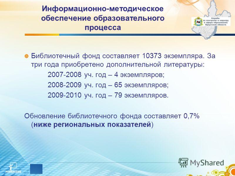 Библиотечный фонд составляет 10373 экземпляра. За три года приобретено дополнительной литературы: 2007-2008 уч. год – 4 экземпляров; 2008-2009 уч. год – 65 экземпляров; 2009-2010 уч. год – 79 экземпляров. Обновление библиотечного фонда составляет 0,7