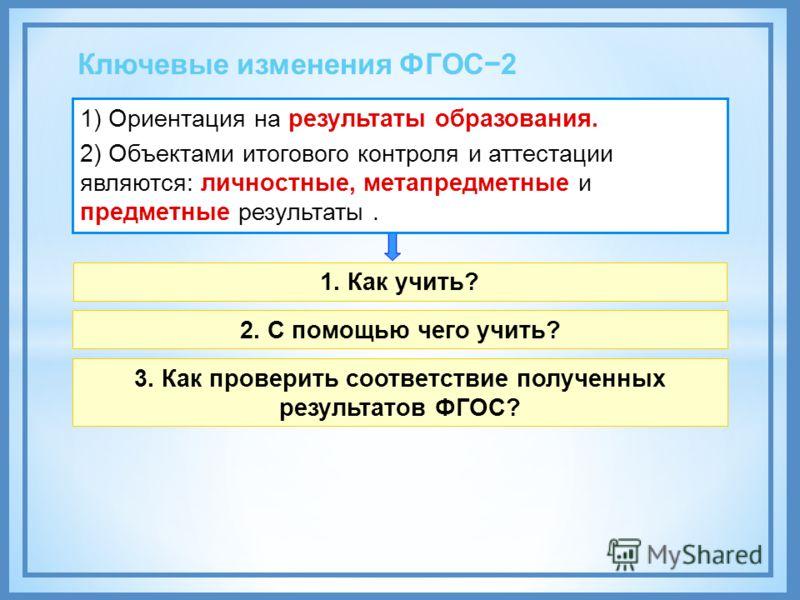 Ключевые изменения ФГОС2 1) Ориентация на результаты образования. 2) Объектами итогового контроля и аттестации являются: личностные, метапредметные и предметные результаты. 1. Как учить? 2. С помощью чего учить? 3. Как проверить соответствие полученн