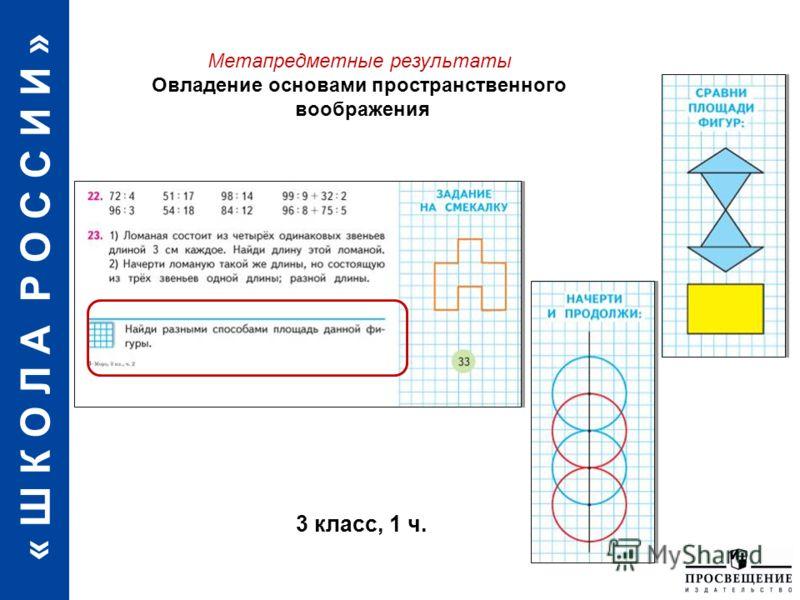 « Ш К О Л А Р О С С И И » Овладение основами алгоритмического мышления 3 класс, 1 ч. Метапредметные результаты Овладение основами пространственного воображения