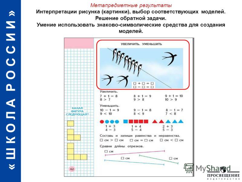 « Ш К О Л А Р О С С И И » Метапредметные результаты Интерпретации рисунка (картинки), выбор соответствующих моделей. Решение обратной задачи. Умение использовать знаково-символические средства для создания моделей.