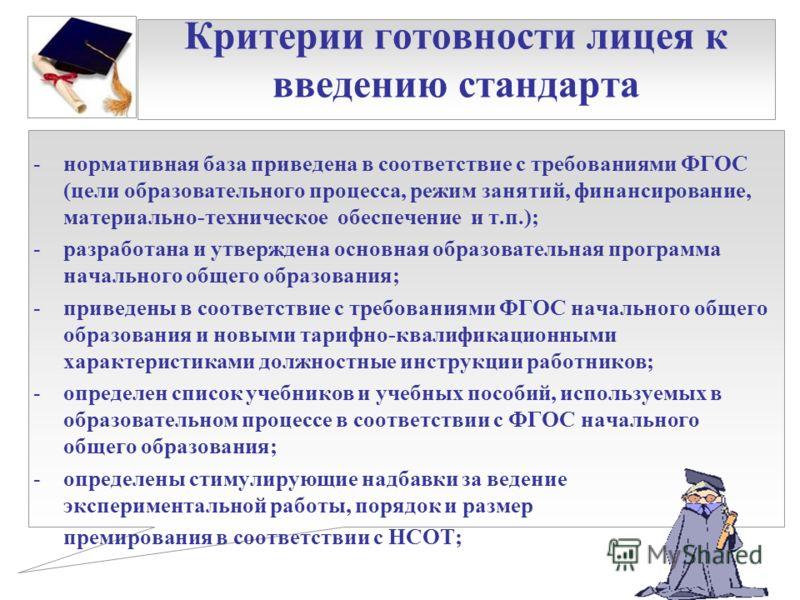 Критерии готовности лицея к введению стандарта -нормативная база приведена в соответствие с требованиями ФГОС (цели образовательного процесса, режим занятий, финансирование, материально-техническое обеспечение и т.п.); -разработана и утверждена основ