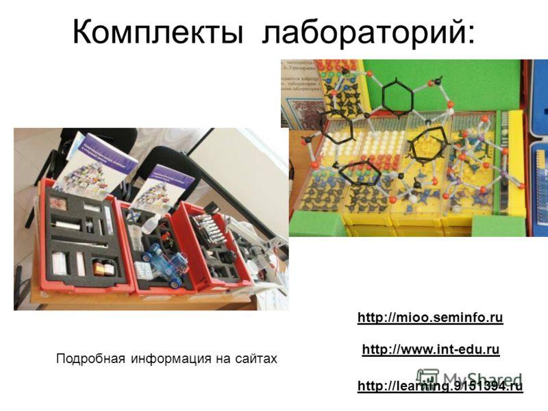 Комплекты лабораторий: http://learning.9151394.ru http://www.int-edu.ru http://mioo.seminfo.ru Подробная информация на сайтах
