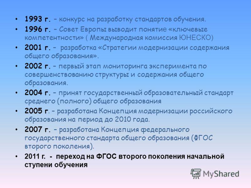 1993 г. – конкурс на разработку стандартов обучения. 1996 г. – Совет Европы выводит поняти е «ключевые компетентности» ( Международная комиссия ЮНЕСКО) 2001 г. – разработка «Стратегии модернизации содержания общего образования». 2002 г. – первый этап
