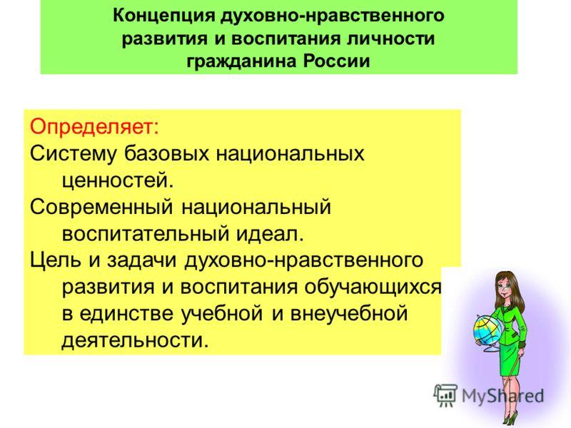 14 Концепция духовно-нравственного развития и воспитания личности гражданина России Определяет: Систему базовых национальных ценностей. Современный национальный воспитательный идеал. Цель и задачи духовно-нравственного развития и воспитания обучающих