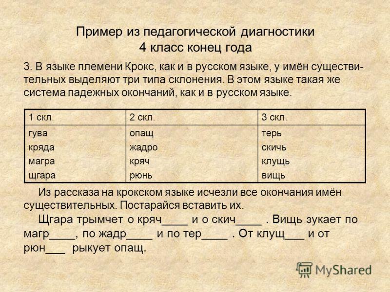 Пример из педагогической диагностики 4 класс конец года 3. В языке племени Крокс, как и в русском языке, у имён существи- тельных выделяют три типа склонения. В этом языке такая же система падежных окончаний, как и в русском языке. Из рассказа на кро