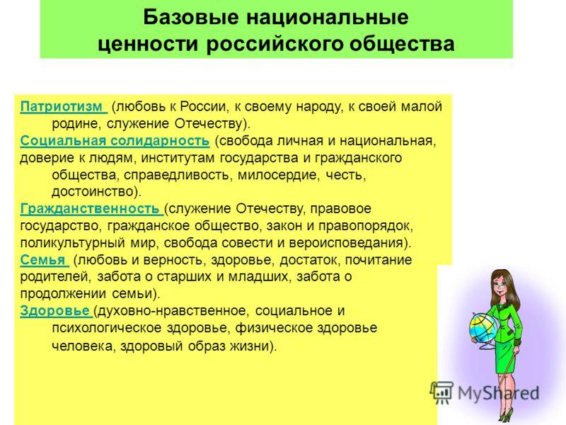 20 Базовые национальные ценности российского общества Патриотизм Патриотизм (любовь к России, к своему народу, к своей малой родине, служение Отечеству). Социальная солидарностьСоциальная солидарность (свобода личная и национальная, доверие к людям,