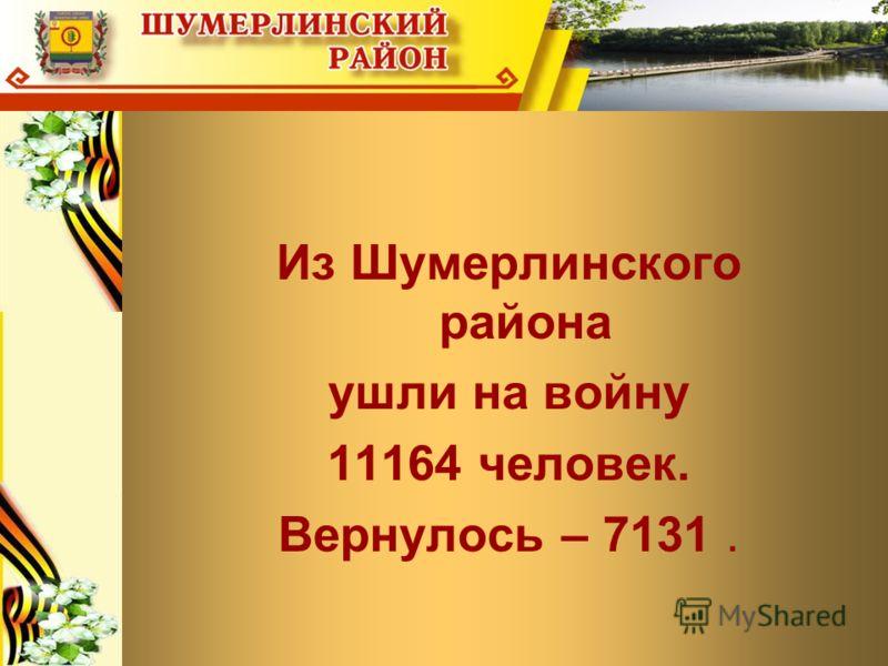 Из Шумерлинского района ушли на войну 11164 человек. Вернулось – 7131.
