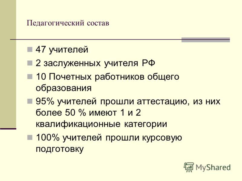 Педагогический состав 47 учителей 2 заслуженных учителя РФ 10 Почетных работников общего образования 95% учителей прошли аттестацию, из них более 50 % имеют 1 и 2 квалификационные категории 100% учителей прошли курсовую подготовку