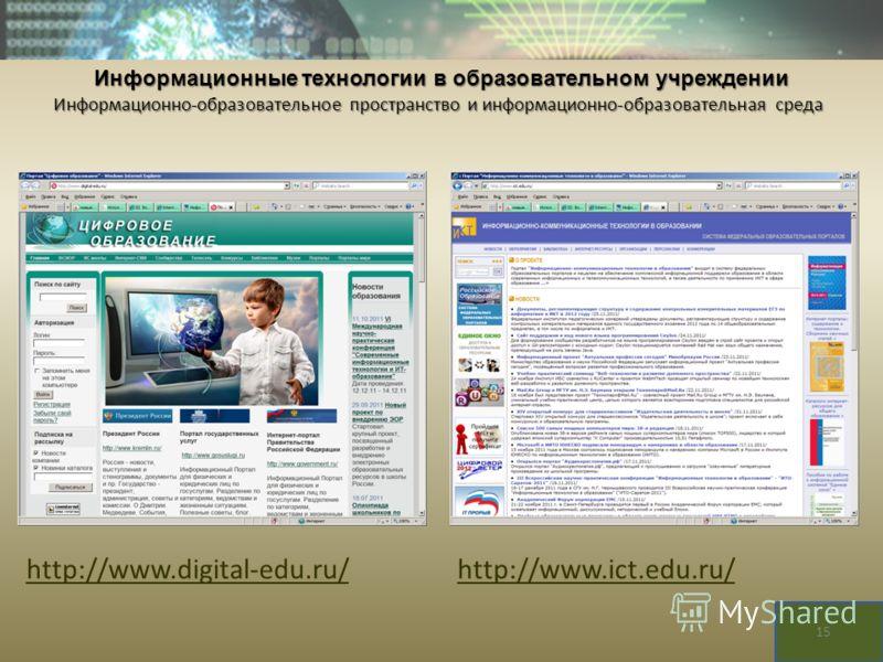 http://www.digital-edu.ru/http://www.ict.edu.ru/ Информационные технологии в образовательном учреждении Информационно-образовательное пространство и информационно-образовательная среда 15