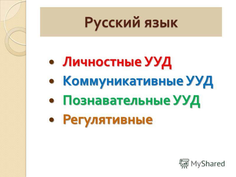 Русский язык Личностные УУД Личностные УУД Коммуникативные УУД Коммуникативные УУД Познавательные УУД Познавательные УУД Регулятивные Регулятивные