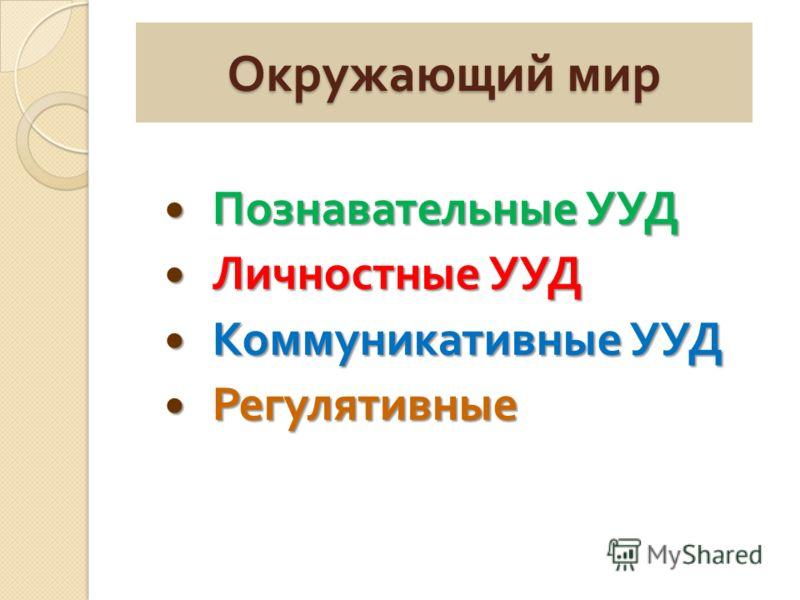 Окружающий мир Познавательные УУД Познавательные УУД Личностные УУД Личностные УУД Коммуникативные УУД Коммуникативные УУД Регулятивные Регулятивные