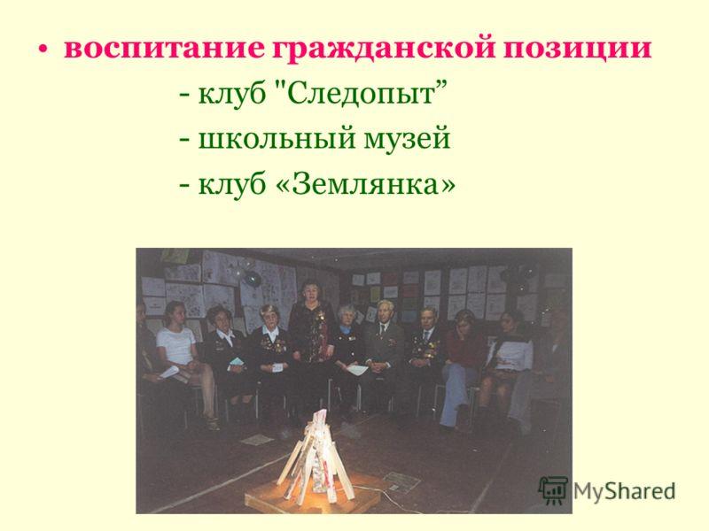 воспитание гражданской позиции - клуб Следопыт - школьный музей - клуб «Землянка»