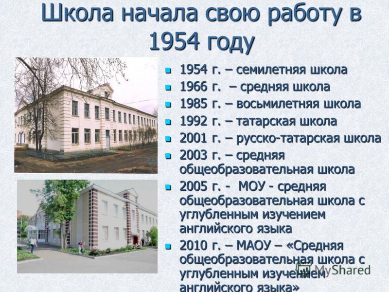 Школа начала свою работу в 1954 году 1954 г. – семилетняя школа 1954 г. – семилетняя школа 1966 г. – средняя школа 1966 г. – средняя школа 1985 г. – восьмилетняя школа 1985 г. – восьмилетняя школа 1992 г. – татарская школа 1992 г. – татарская школа 2