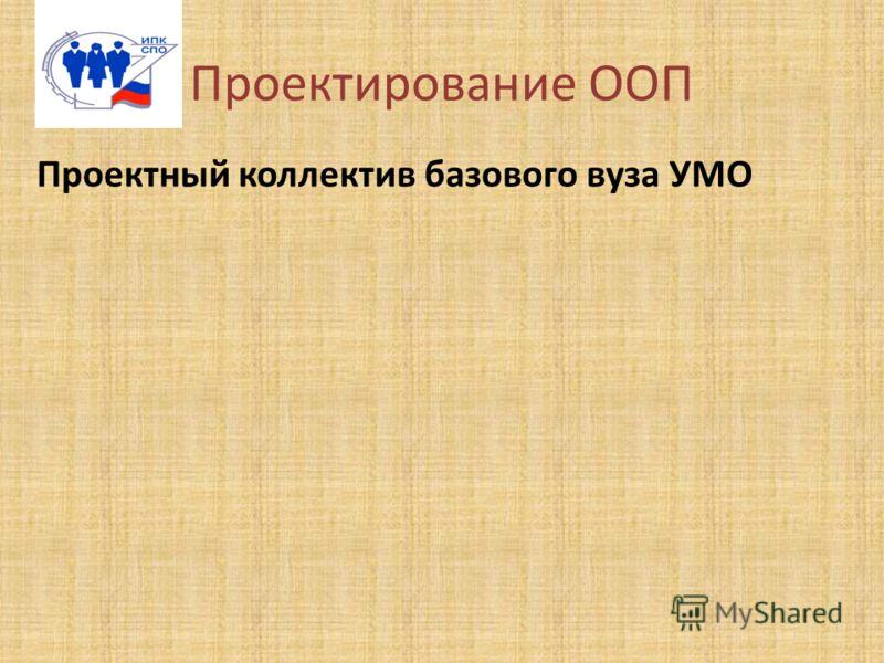 Проектирование ООП Проектный коллектив базового вуза УМО
