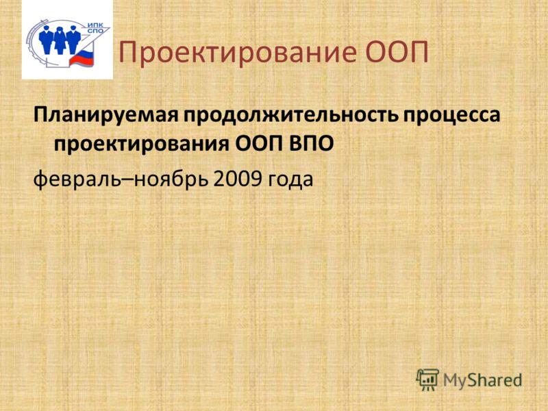 Проектирование ООП Планируемая продолжительность процесса проектирования ООП ВПО февраль–ноябрь 2009 года